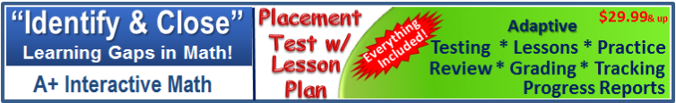 Adaptive Math Placement Test w/ Lesson Plan