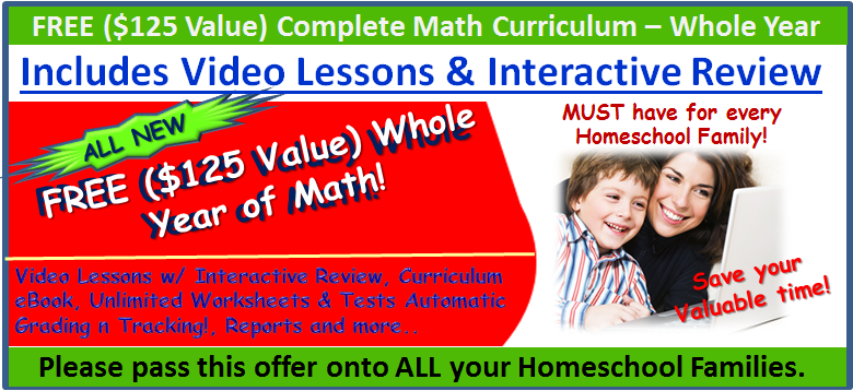 Free 1-Year Math Curriculum w/ Video Lessons